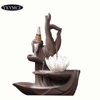 T Bergamot Backflow Incense Burner Ceramic Lotus Candle Holder Incense Sticks Base Buddhist Supplies for Home Decor