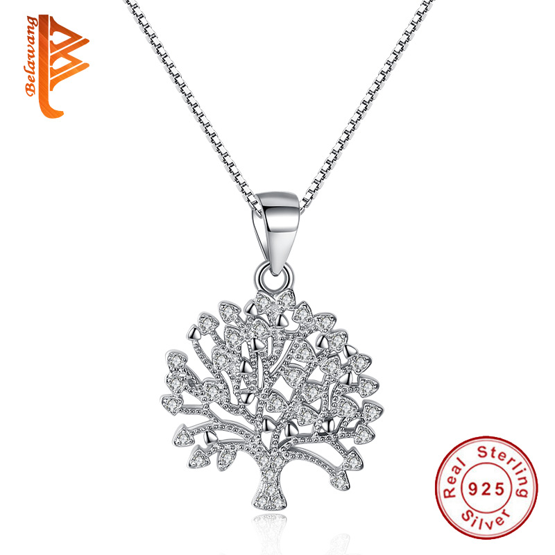 BELAWANG 2018 New Fashion Jewelry Tree Of Life Necklace Women 925 Sterling Silver Tree Pendant Necklace Crystal Jewelry Collares faux turquoise engraved hope life tree leaf necklace