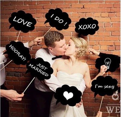Photo Booth Props Thought Bubble Wedding Decoration Party Clouds Squarae Round Photoprops Mini Chalkboard Signs With Stick In Wall Stickers From Home