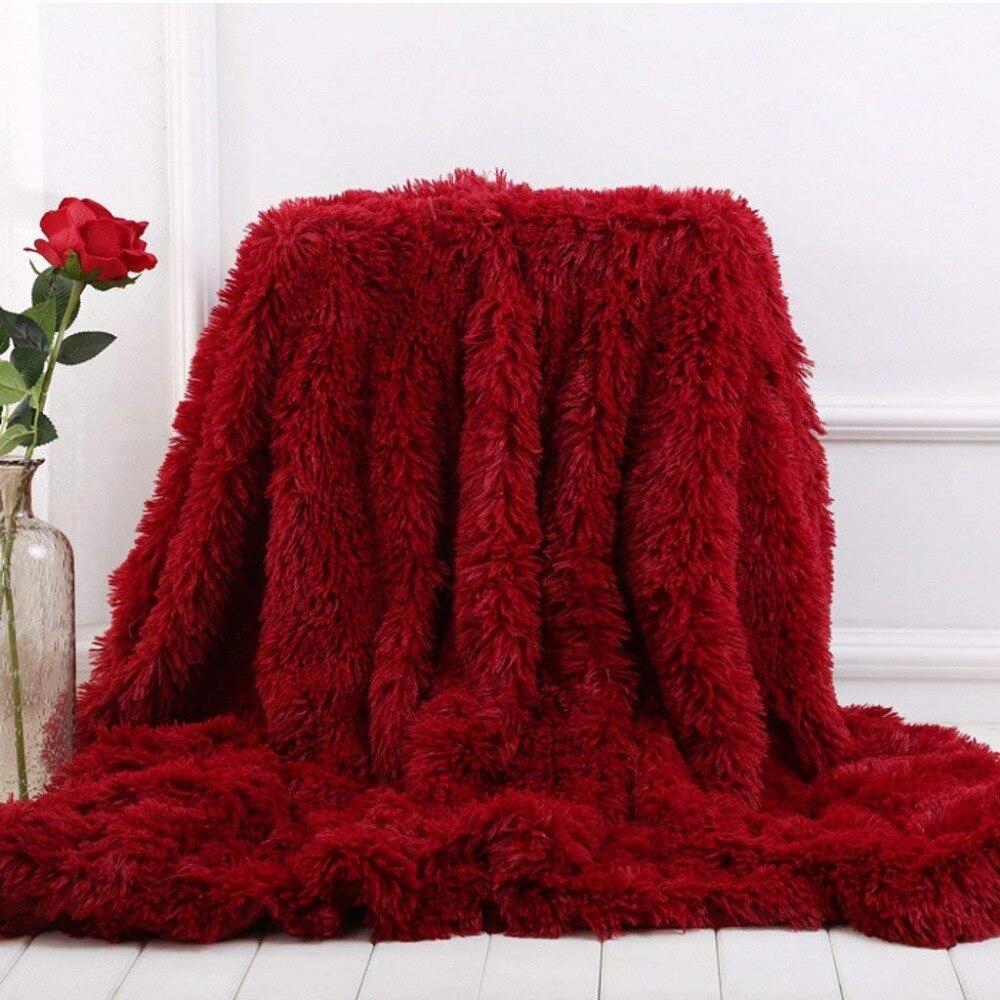 Battilo Super Soft Long Shaggy Fuzzy Fur Faux Fur Warm Elegant Cozy With Fluffy Sherpa Throw Blanket