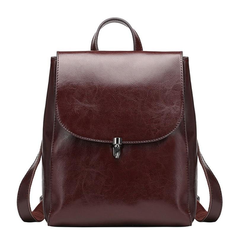 Women 100 %Genuine Leather Backpacks Ladies Casual Vintage Cowhide Travel Black Brown Backpack Real Cowhide Bagpack School Bags цена