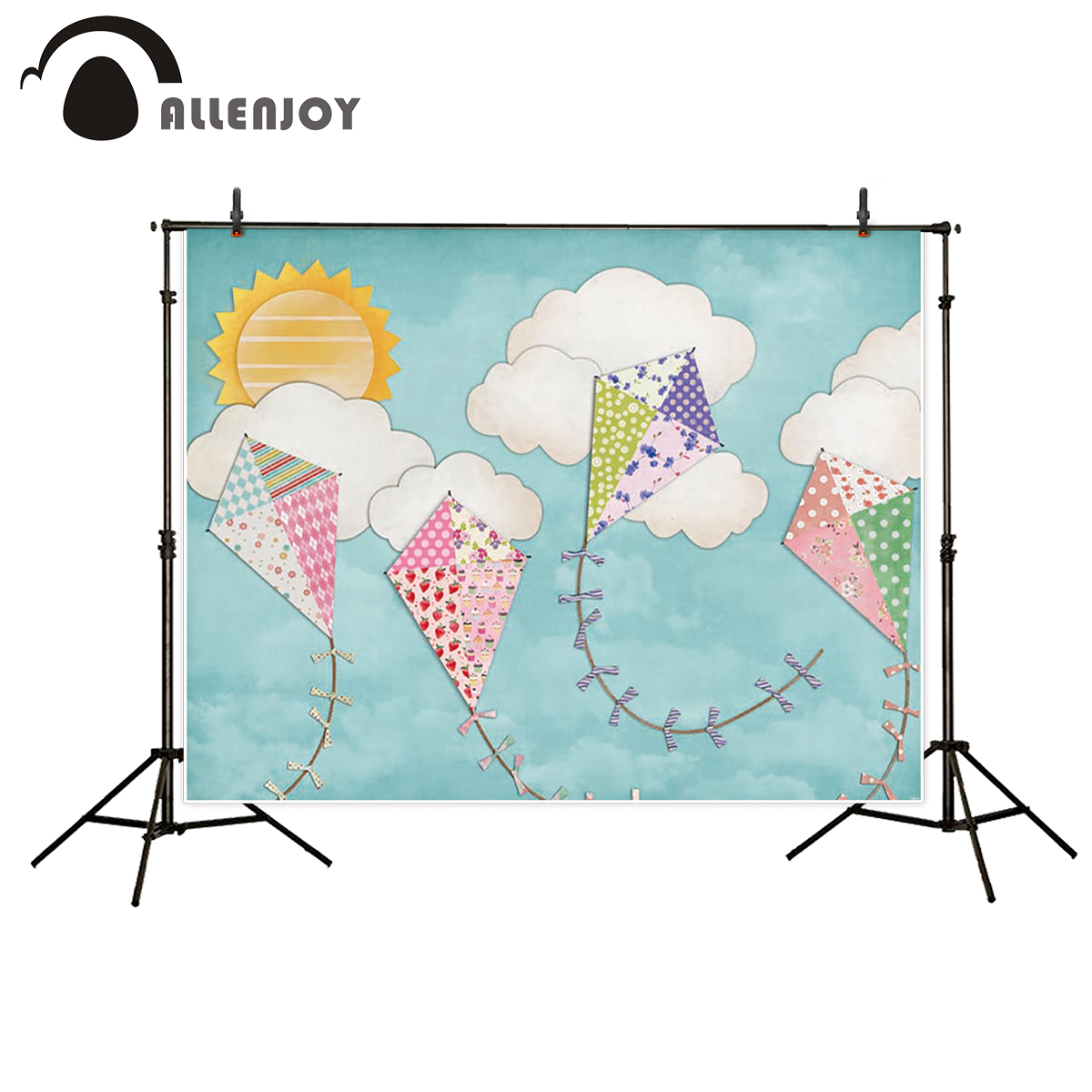 Allenjoy photography backdrop baby moon cloud colorful kite fantasy props for newborn photocall photobooth customize moon flac jeans