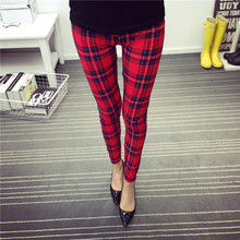 fall women leggings punk rock mujer Character red grid Skiny legging Fitness leggins gothic Sexy Pencil pants women Leggings
