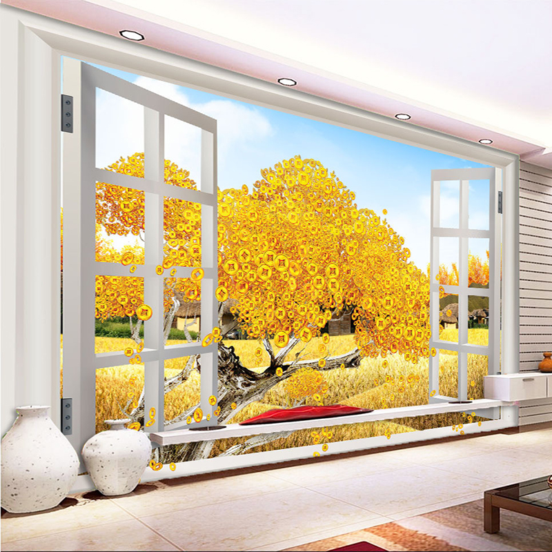 Custom 3D Photo Wallpaper Outside The Window Scenery Money Tree Living Room Bedroom Background Mural Wallpaper De Parede 3D custom 3d stereo wallpaper murals window outside european scenery living room tv wall decoration painting papel de parede 3d