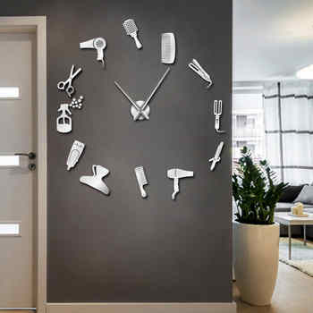 Barber Shop Hair Tools Oversized DIY Wall Clock Frameless Hair Salon Big Time Clock Fashion Hairdresser User-defined Room Decor - Category 🛒 Home & Garden