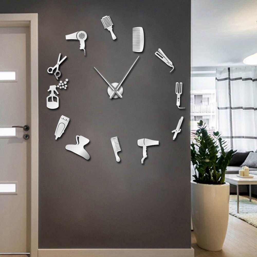 Barber shop ferramentas de cabelo de grandes dimensões diy relógio de parede sem moldura cabeleireiro grande tempo moda cabeleireiro usuário-definido decoração do quarto