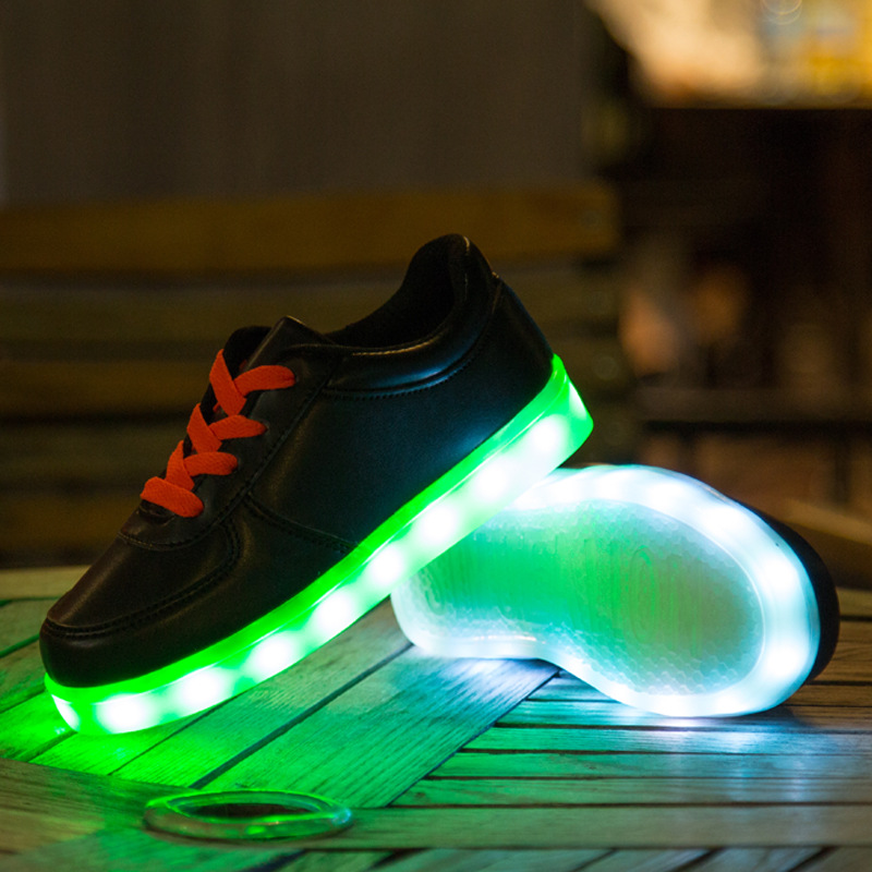 Children Lace Up Canvas Shoes Kids LED Light Emitting Sneakers Fashion Brand Boys Girls USB Charging Shoes children s shoes girls boys shoes led tennis glowing sneakers with luminous sole usb charging magic stickers kids shoes