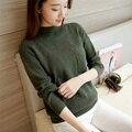 39 nuevo otoño y el invierno de medio sólido tejer suéter bolsillo F1495