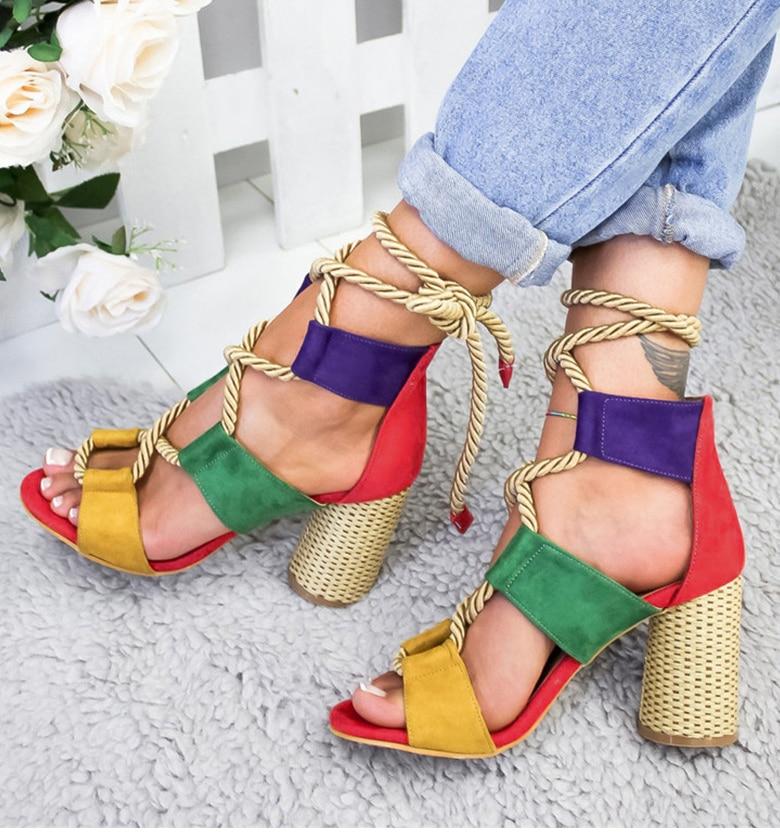 HTB1 ZyUaRiE3KVjSZFMq6zQhVXam Women Sandals 2019 Women Heels Shoes For Gladiator Sandals Women High Heels Summer Shoes Woman Lace Up Peep Toe Chaussures Femme