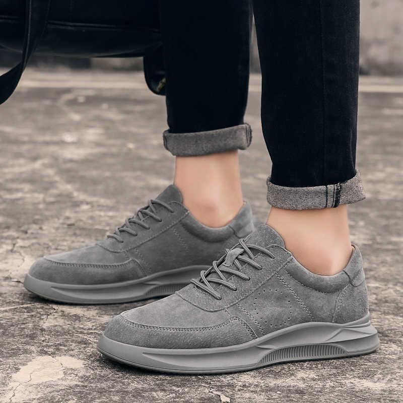 Misalwa 2019 Mới Chính Hãng Da Giày Casual Nam Cho Nữ Da Lộn Nam Thoáng Khí Ngoài Trời Giày Zapatos Trẻ Trung Nam Sneakers