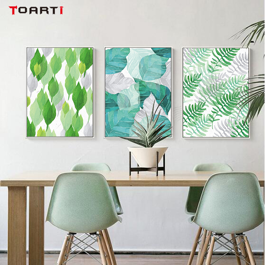 Tropical Plant Leaves Canvas Art Painting (5)