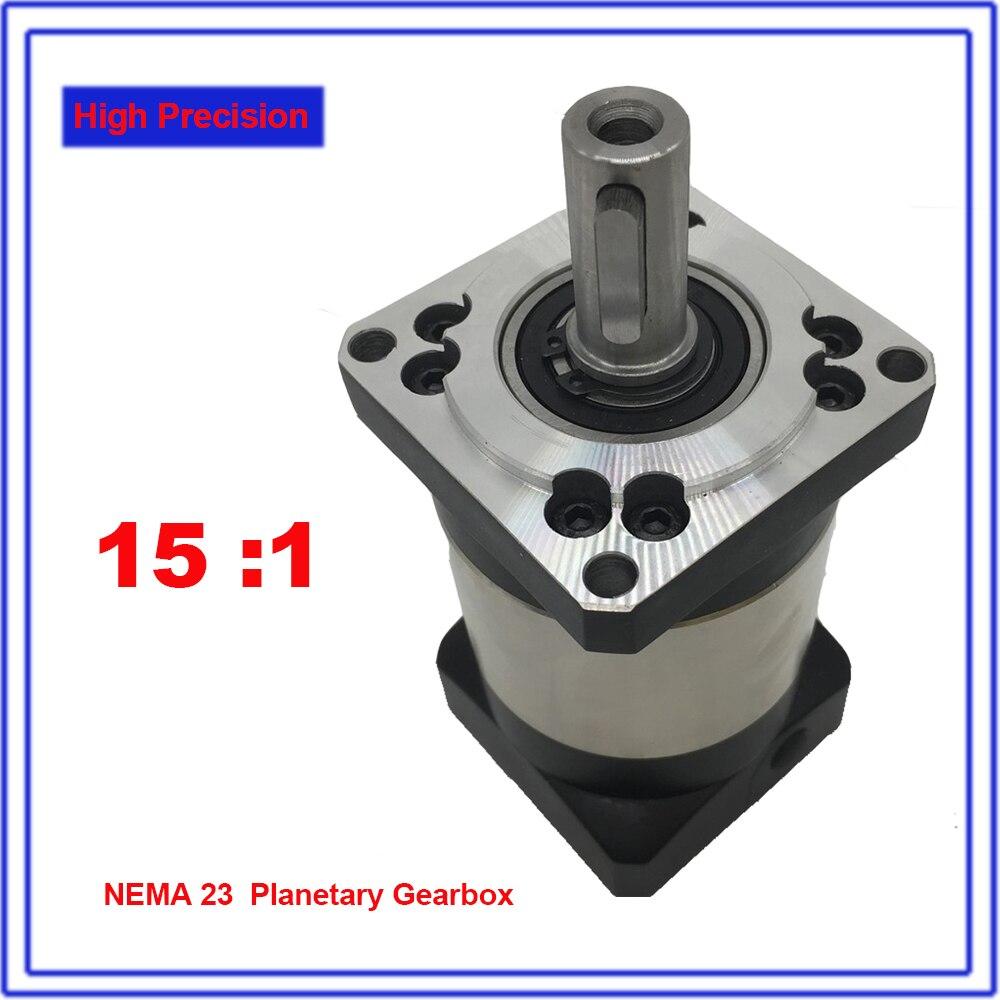 15:1 rapport de vitesse 15 NEMA23 réducteur planétaire 12 Arcmin réducteur de boîte de vitesses 57mm bride pour moteur pas à pas en boucle fermée