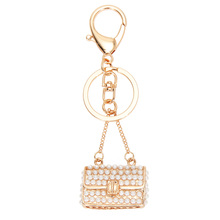 2017 Female New Style Shaped Metal Bag Charming Purse Handbag Keychain Crystal Rhinestone Keychain Handbag Pendant Car KeyringDM