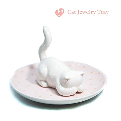 Nordic Style Shy Cat Plate Ceramic Dish Decorative Crown Food Plate Jewelry Trays Rings Bracelets Holder Creative Gift