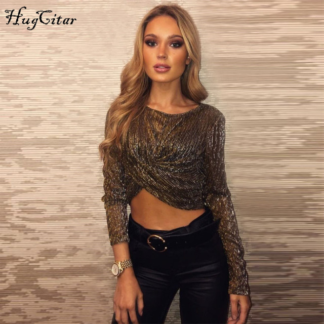 Hugcitar long sleeve reflective see-through sexy crop tops 2018 autumn winter women fashion Christmas party T-shirts