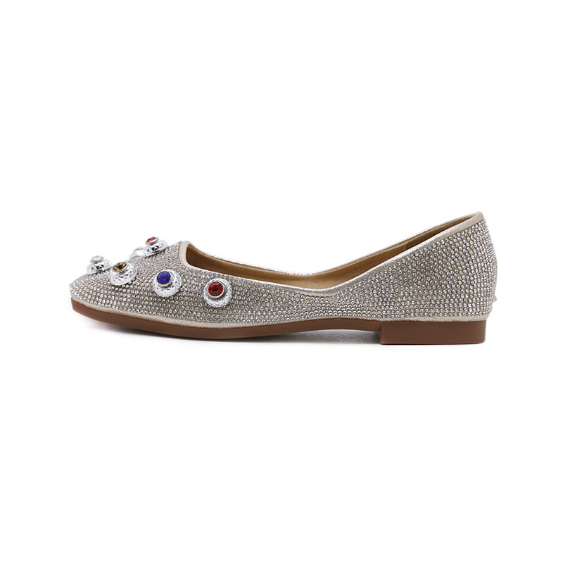 Womens shoes Comfortable Square toe flat shoes women multicolor Rhinestone Casual Ladies shoes female slip flats loafers