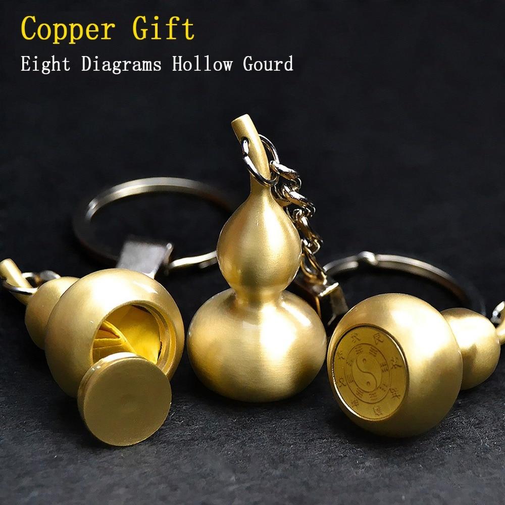 Original Design Copper Hollow Gourd Key Ring Creative Eight Diagrams Gift Min Storage bottle
