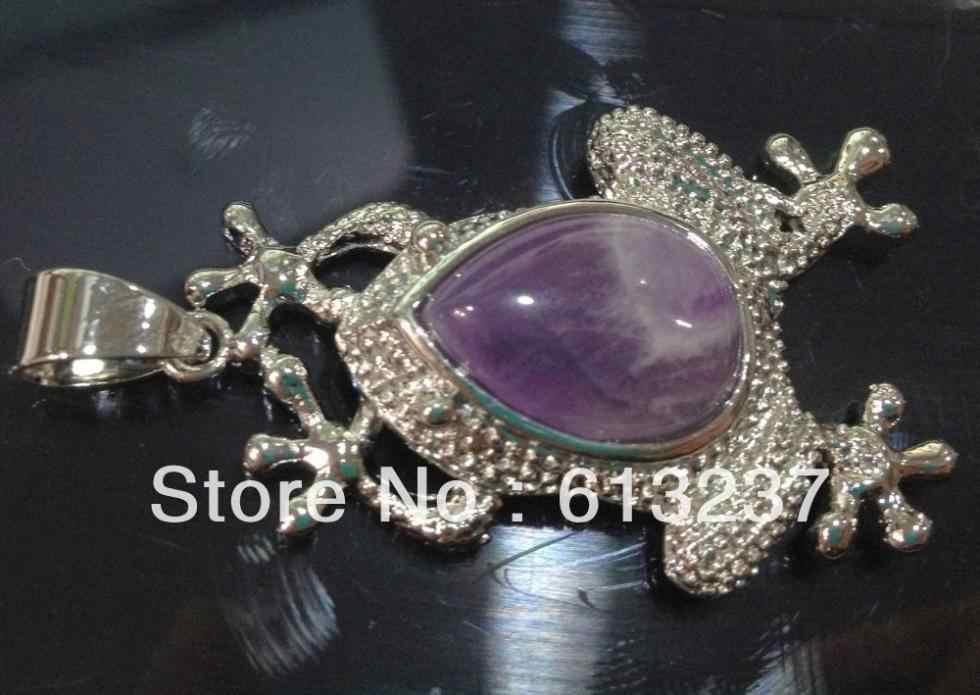 Pedra Natural roxo calcedônia jade sapo Pingente fit para as mulheres diy jóias de cadeia longa acessórios achados MY5217