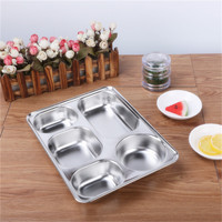 Eco Lunchbox Stainless Steel Divided Lunch Food Serving Bento Box Tray Cover Restaurant Canteen Tableware