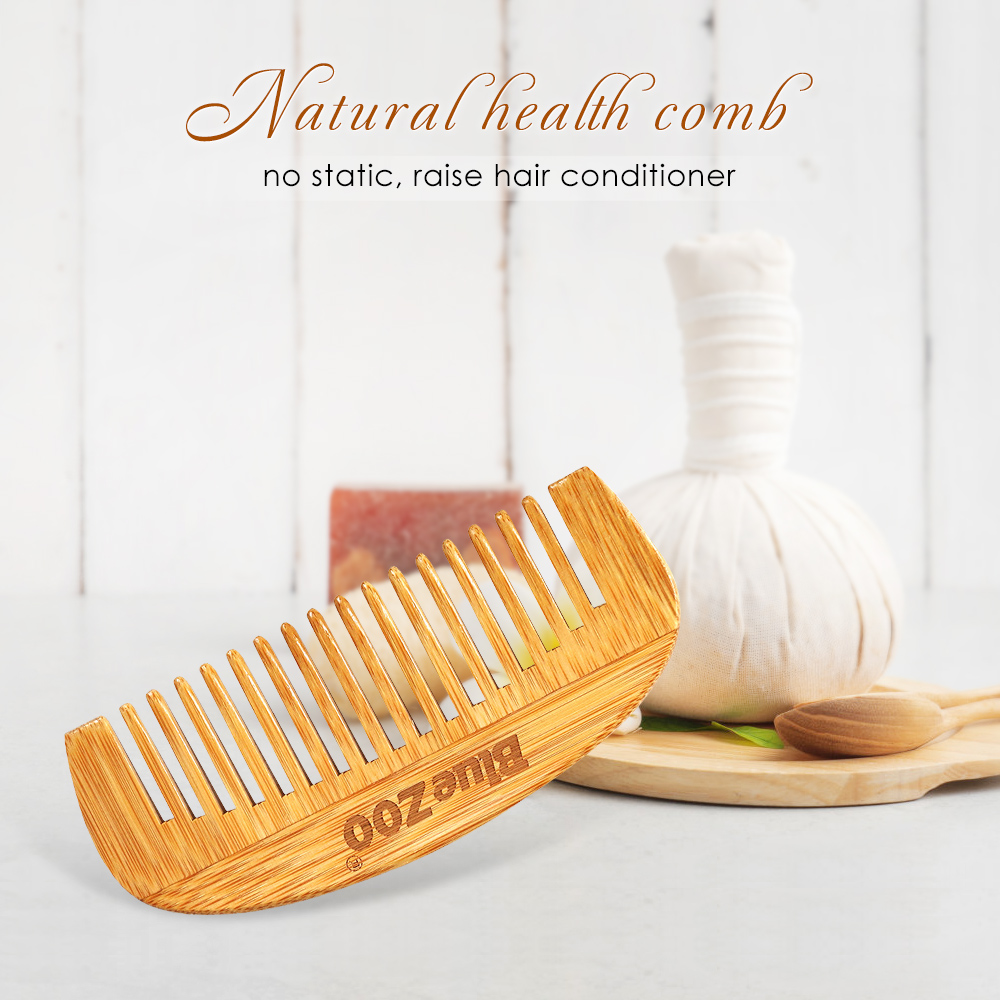 1Pc Natural Bamboo Wooden Portable Hair Comb Massage Scalp Anti-static Men's Beard Comb 12*5.2cm Women Hair Styling Tool