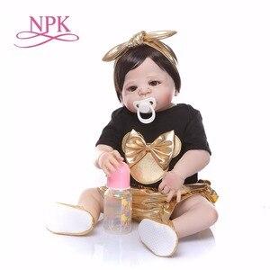 Image 2 - NPK 56 cm Silikon Volle Körper bebe Puppe reborn baby Echt Leben goldene Prinzessin Baby Puppe Für Weihnachten Geschenk Wasserdicht bad spielzeug weiche spielzeug