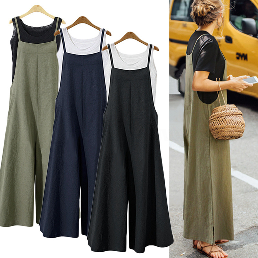 S-5Xl Summer Women Strappy Solid Comfy Wide Leg Jumpsuits Women'S Casual Loose Dungarees Bib Overalls Cotton Linen Rompers