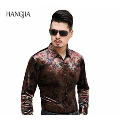 2017 High Quality Men's Slim Real Silk Floral Shirt Plus Size Business Casual Long-sleeved Shirts Cool Breathability Good Gift