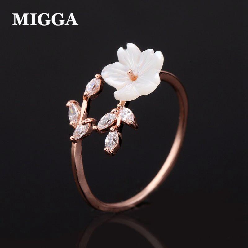 MIGGA Delicate Zircon Crystal Leaf Shell Flower Ring for Women Ladies Girls Rose Gold Color Finger Bague