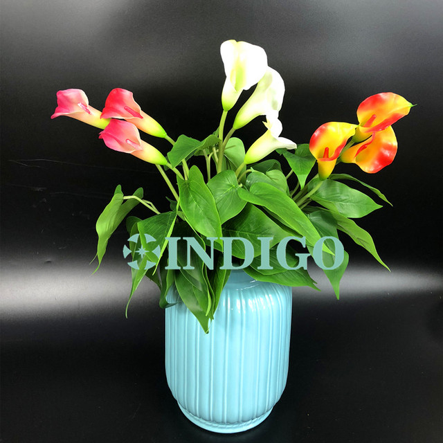Indigo Sunset Calla Bouquet With Leave Root Real Touch Wedding Outdoor Waterproof
