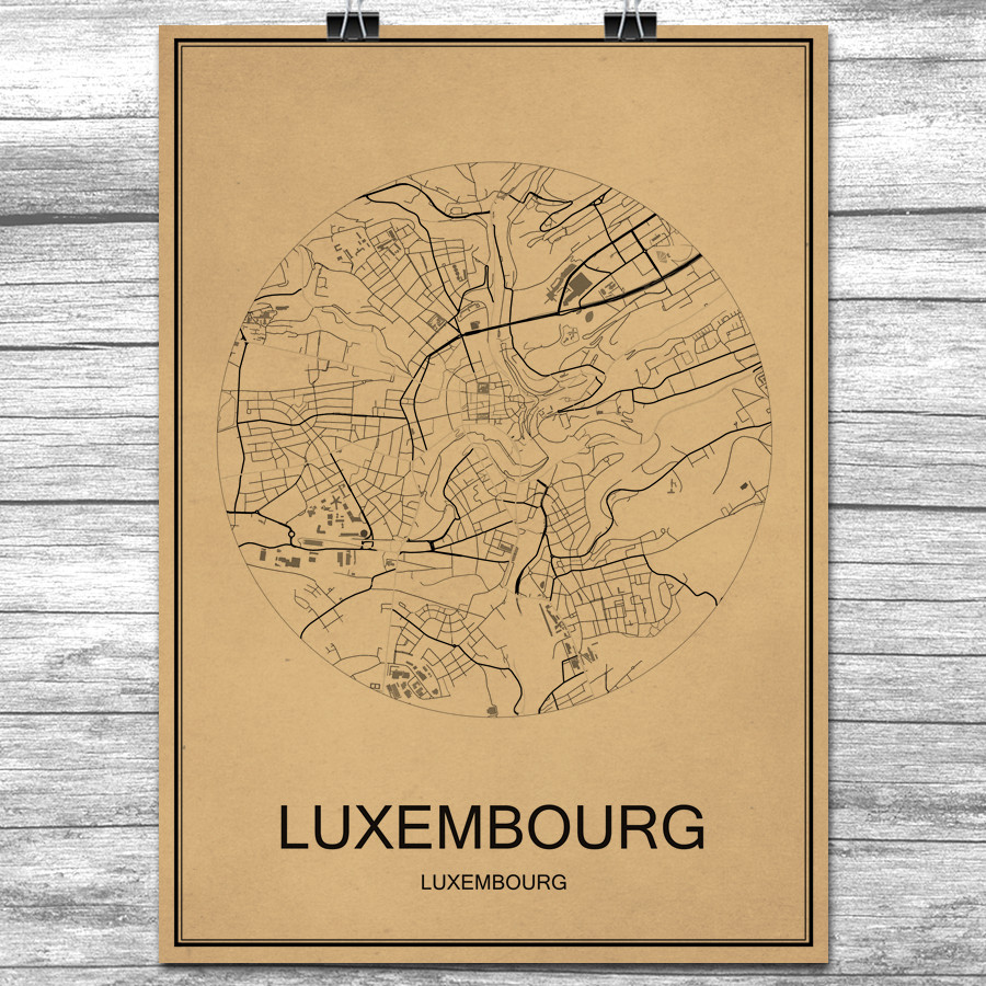 Kraft Paper LUXEMBOURG World City Map Vintage Retro Poster Wall Art Sticker Antique Painting Living Room Home Decor Cafe Bar