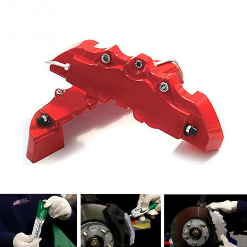 WISE TRAVEL 2 Pair Universal Car 3D Style Disc Brake Caliper Covers Front+Rear  Red color car travel front