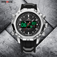 WEIDE Military Quartz Digital Auto Date Men Sport Watch Clock Silicone Strap Wristwatch Relogio Masculino Montres Hommes Relojes weide watch men sport water resist black leather strap led display auto date quartz wristwatches masculino clock relojes hombre