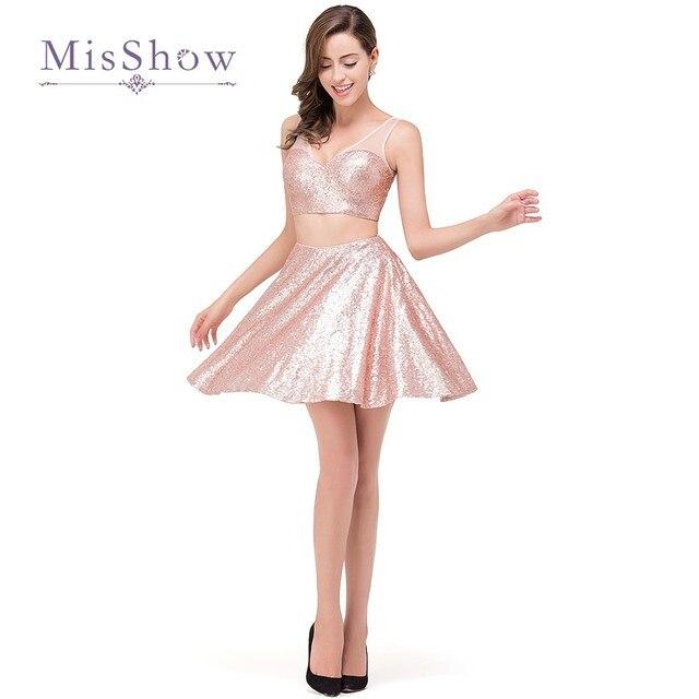 2ae33829545 Короткие вечерние платья 2017 Сияющие Блестки розовые короткие коктейльные  Одежда для вечеринок