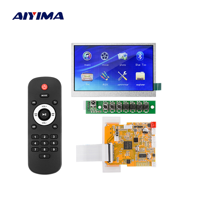 AIYIMA 5V Lossless Bluetooth 4.3 Inch LCD Bluetooth Decoder MP3 Audio MP4 MP5 Video Decoding USB TF FM Radio HD 16*16 DDR Memory