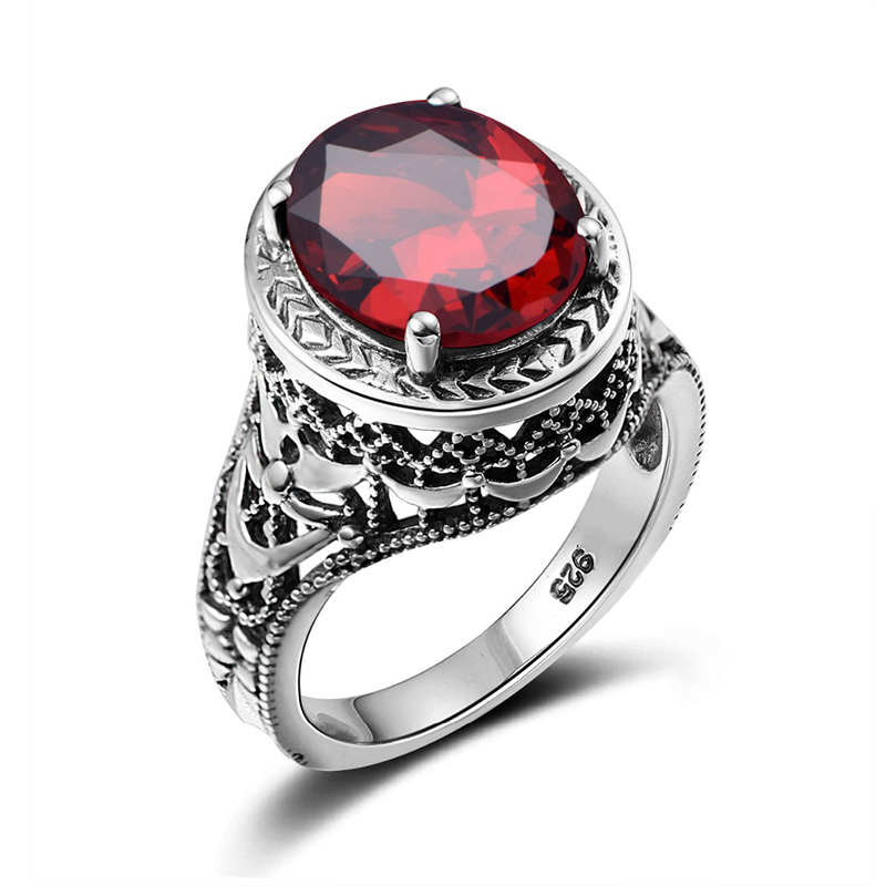 fashion 925 sterling silver jewelry vintage red stone ring large engagement rings for women wedding accessories - Large Wedding Rings