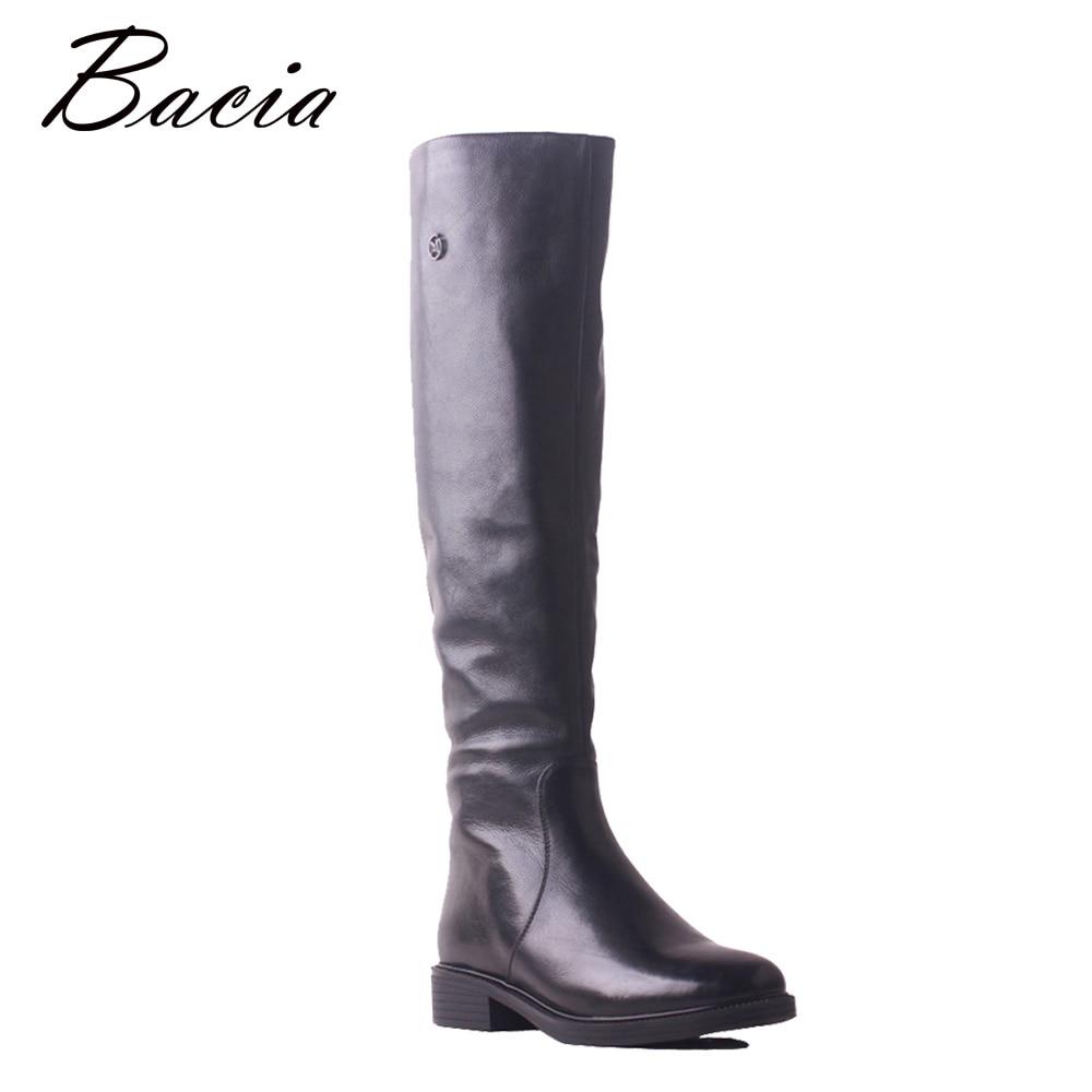 Bacia Haute Qualité Chaussures Marque Hiver Bas Talon Doux Véritable Vache En Cuir Longues Bottes Haute Genou Laine De Fourrure Chaud Femmes chaussures SB119