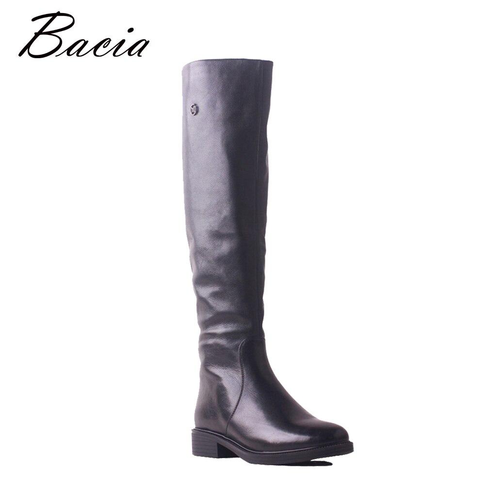 Bacia de alta calidad zapatos de marca zapatos de invierno de tacón bajo de cuero genuino suave vaca botas largas de la rodilla de lana de mujeres zapatos SB119