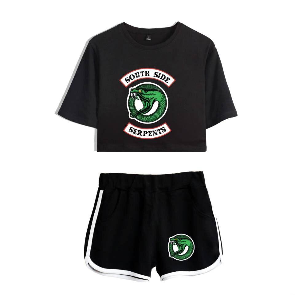 Unidades 2 piezas chándal mujeres 2018 nuevo Bts Riverdale South Side Serpents ropa femenina Casual Crop Top y pantalones conjuntos de verano