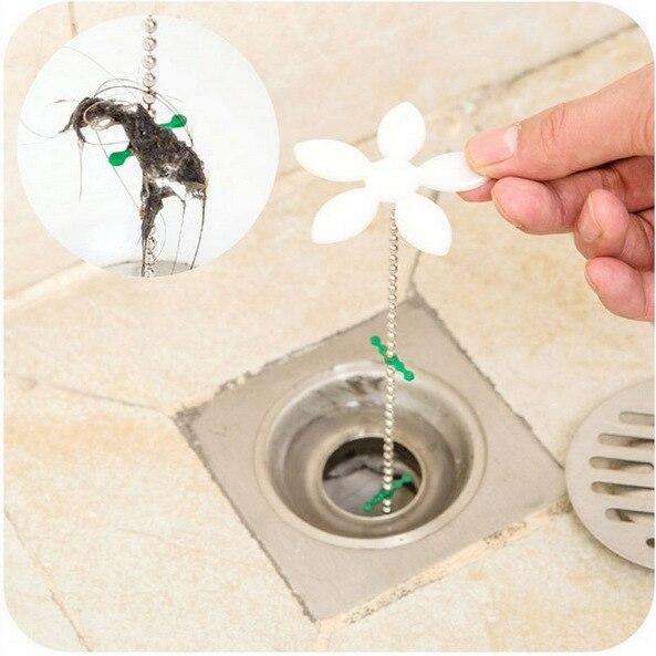 1Pcs 2018 Hot Sale Flower Useful Bathtub Shower Chain Cleaner Hair Bathroom Sewer Filter Drain Sink filter Clog Remover F2235