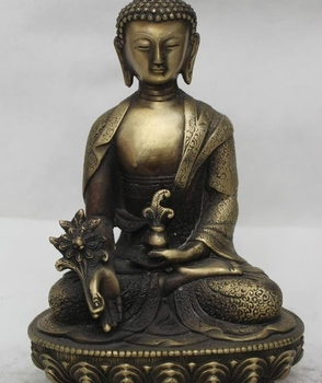 "9"" Tibet Buddhism Bronze Seat Lotus Menla Medicine Buddha medical God Statue"