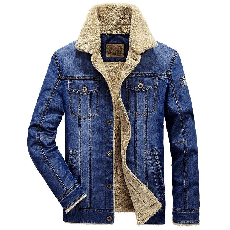 Retro denim jacket men fur collar thicken outwear jacket denim coat  brand clothing men's coat parka warm jeans jacket