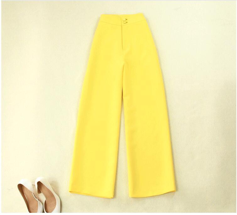 Nouveau D'été Large Costumes 2018 Et Jambe Jaune Costume Printemps Longue Pantalon Haute De Pantalons Breasted Section 1 Femmes Taille Double xgTnpqq