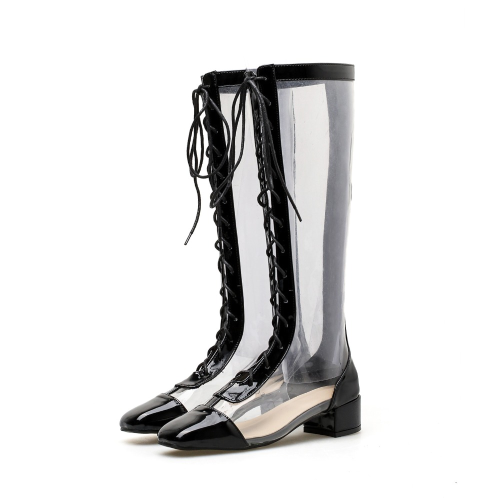 Women PVC Mid-Calf Boots Lace Up Pointed Toe Transparent Booties Zip Back 3.5 cm Heel Fashion Design Size 35-40 Black White black front lace up a line mini skirt with back zip