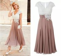 Deep V Neck Chiffon Ankle Length Wedding Guest evening Short Sleeves Top Lace Groom Party Gowns Mother of the Bride Dresses