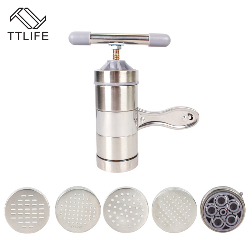 TTLIFE Hand Manual Stainless Steel Pasta Noodle Maker Spaghetti Press Pates Machine Vegetable Fruit Juicer Press Tools