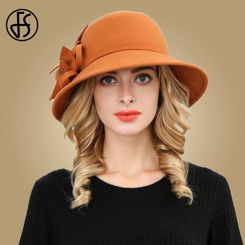 FS Black Wool Hat Women Winter Fedora Vintage Wide Large Brimmed Felt Cloche Hats Floppy Round