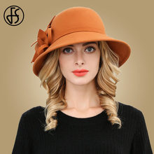 Chapéus de lã de feltro de feltro chapéu de cloche para senhoras ampla igreja do vintage flor redonda