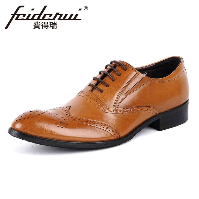 1e735d4bb2c 2018 New Arrival Vintage Genuine Leather Men s Handmade Oxfords Round Toe  Wingtip Man Formal Dress Wedding Brogue Shoes YMX40
