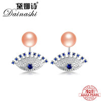 Dainashi Mysterious Eye Shape Pearl Stud Earring with Similar Sapphire 925 Silver 100% Real Pearl Earring Fine Jewelry for Women