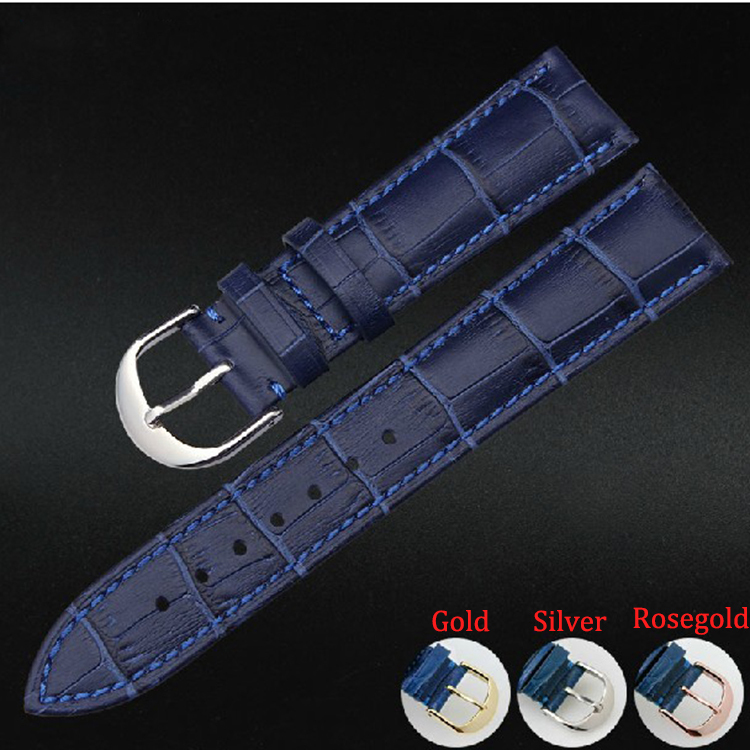 Wholesale Price Watch Straps Band Bracelets Genuine Leather Blue High quality Watchband with Steel Buckle Polished Fashion hot selling high quality new arrival genuine leather watchband carbon fiber straps 22mm with stainless steel buckle